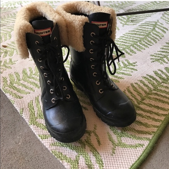 Hunter Shoes - Hunter Lace Up Rain Boots ☔️ with Sherpa